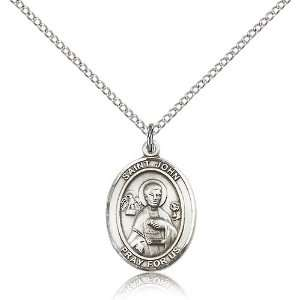 925 Sterling Silver St. Saint John the Apostle Medal Pendant 3/4 x 1