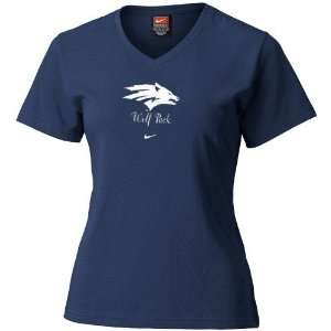 Nike Nevada Wolf Pack Ladies Navy Blue Team Logo T shirt