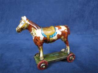 Vintage Tin Litho Penny Toy Horse Wheeled Cart Germany