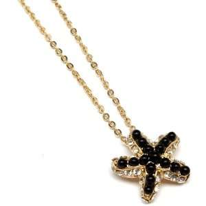 Gorgeous Sea Lovers Black Gold Crystal Starfish Necklace