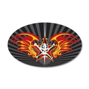 38.5x24.5O Wall Vinyl Sticker Star Skull Flaming Wings