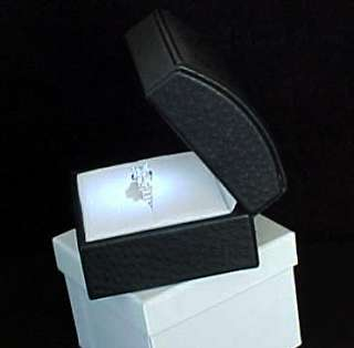 The Ultimate Deluxe BLACK LEATHER Lighted LED Engagement RING Jewelry