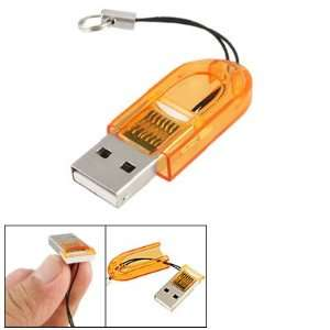 Orange Plastic Thumb Shape Shell T Flash TF Memory Card Mini Reader