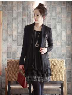 FANCYQUBE CHIC CREW NECK LONG SLEEVE CHIFFON DRESS 1895