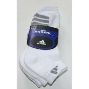 adidas Mens Athletic Low Cut Socks 3 Pair Shoe Size 6 12 White gray