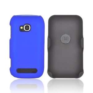 For Nokia Lumia 710 Black Blue Rubberized Holster & Case