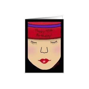 Red Hat Lady Face Birthday 45th Card Toys & Games