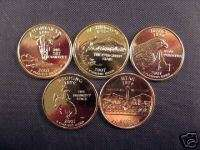 2007 Complete Set Of 24kt. Gold Plated State Quarters
