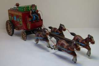 ALPS Wells Fargo Stagecoach Horse Tin Litho Battery Toy