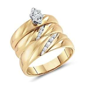 Diamond Engagement Rings Set Wedding Bands Yellow Gold Men Lady .17 CT