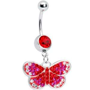Ruby Red Gem Sparkling Butterfly Belly Ring Jewelry