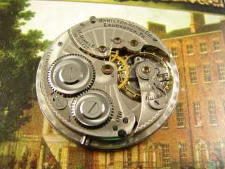 HAMILTON 17J 910 POCKET WATCH MOVEMENT GOOD BAL ART DECO FANCY DIAL