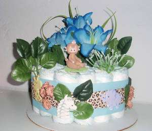 MONKEY JUNGLE SAFARI BABY SHOWER DIAPER CAKE CENTERPIECE HOSPITAL GIFT
