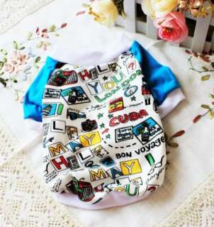 Pet Puppy Blue T shirt Pope Full Printing Elastic Warm Appare Clothes