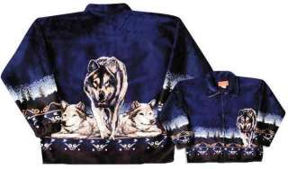 Wolves Navy Wolf Pack Plush Fleece Jacket New Medium