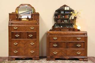 Art Deco Waterfall 1930s Antique Pair Dresser & Chest