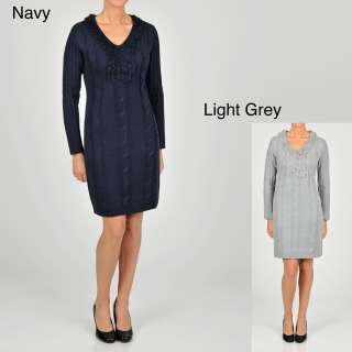 Lennie for Nina Leonard Womens Cable V Neck Sweater Dress