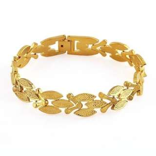 Wide Thick 24k Yellow Gold Filled Mens Cuff Starter Bracelet Chain 8