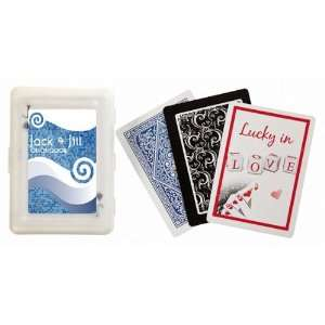 Baby Keepsake Blue Grey Tile Wave Design Personalized Playing Card