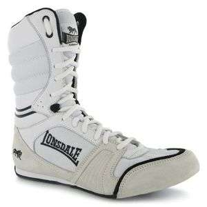 Cyclone Leather Mens Boxing Boots White Black Shoes Fight Training New