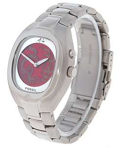 Fossil Mens Red Dragon/Flame Dial Stainless Steel Watch