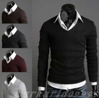 NWT Mens Premium Stylish Slim Fit V neck Knitted Sweater 3Size 5color