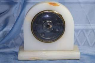 Marble Art Deco Shelf Mantle Clock Case NO Mechanism Glass Face