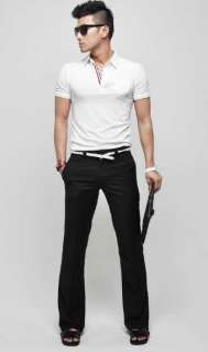 Mens Stand Collar Slim Fit Designer Dress Casual Tee T shirt Polo