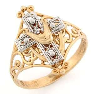 10k Two Tone Gold Cross Shroud Religious Filigree Ring