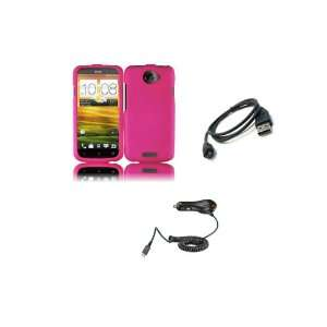 HTC One S (T Mobile) Premium Combo Pack   Hot Pink Hard Shield Case