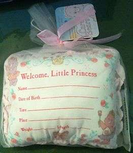 CARE BEAR BIRTH RECORD PILLOW BABY NURSERY PINK GIRL