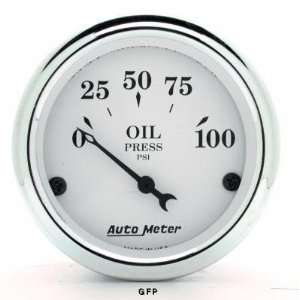 Auto Meter  1628 2 1/16 Old Tyme White   Oil Pressure Gauge   0 100