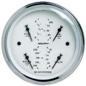 Auto Meter 1612 Old Tyme White 3 3/8 Short Sweep Electric