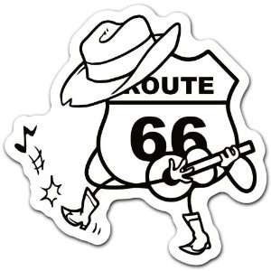 Route 66 Cowboy Racing Car Bumper Sticker Decal 4.5x4