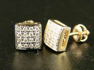 14K MENS/LADIES BEZEL HANDSET DIAMOND STUD EARRINGS