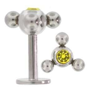 Atom Surgical Steel Labret Lip Ring CITRINE CZ Gem Jewelry