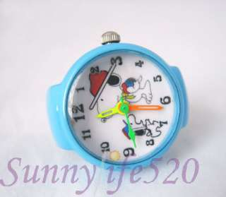 Fashion Mens Women Snoopy Finger Ring Quartz Watch Blue