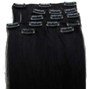 14 70g CLIP IN 100% REAL HUMAN HAIR EXTENSIONS,#1 BLACK