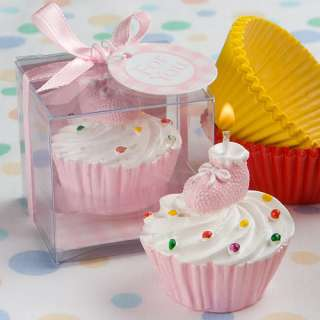 Pink Cupcake Design Candle Baby Shower Favors