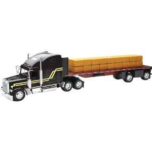 Truck/FlatBed with Hay Bales Replica Truck Toy   Black / 132 Scale