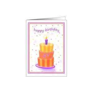 27 Years Old Happy Birthday Stacked Cake Lit Candle Card