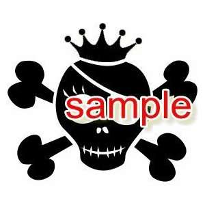 PIRATE KING SKULL CROSSBONES WHITE VINYL DECAL STICKER
