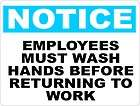 Notice Employees Must Wash Hands Sign OSHA