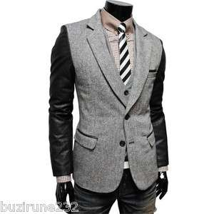 LPJ) TheLees Mens Casual Faux leather patched 2 Button Blazer Jacket
