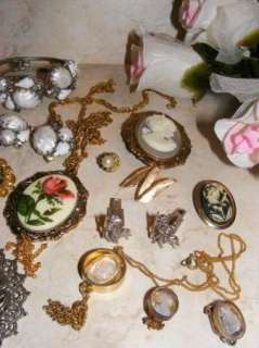 Of VIntage Costume Jewelry Cameo Pendants Brooches 12 pc Trifari Sarah