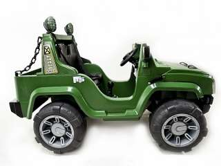 GREEN 12V BATTERY POWER KIDS RIDE ON HUMMER JEEP W/ BIG WHEELS