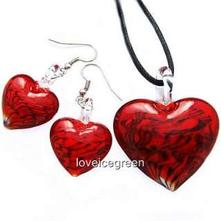 Red Heart Lampwork Murano Glass Necklace Earrings Set