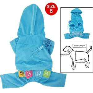 Blue Hooded Shirt w Pants Dog Romper Pet Apparel Size 6
