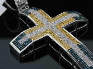 MENS WHITE GOLD FINISH 2.11 CT DIAMOND PAVE CROSS CHARM