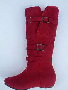 RED BOOTS SHOES YOUTH KIDS GIRLS SIZE 13 4